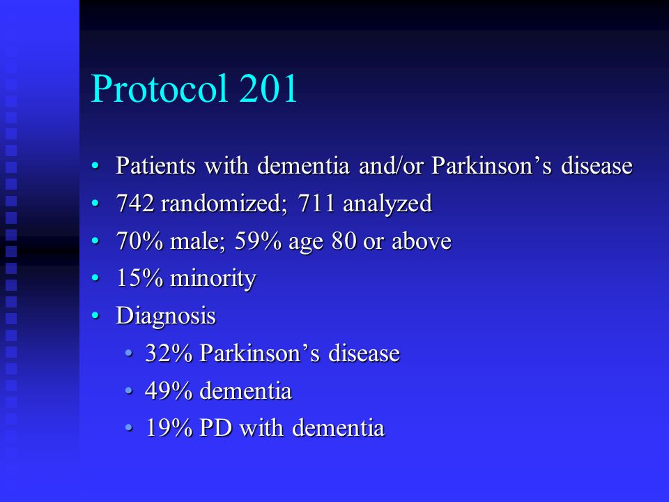 Protocol 201 Patients with dementia and/or Parkinson's diseasePatients with dementia and/or Parkinson's disease 742 randomized; 711 analyzed742 random