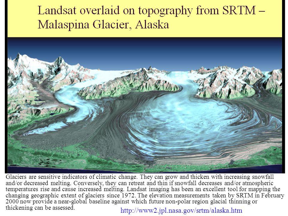 http://www2.jpl.nasa.gov/srtm/alaska.htm  Glaciers are sensitive indicators of climatic change.