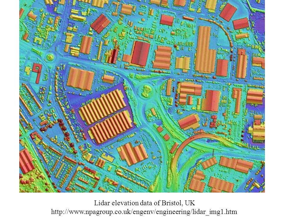 Lidar elevation data of Bristol, UK http://www.npagroup.co.uk/engenv/engineering/lidar_img1.htm