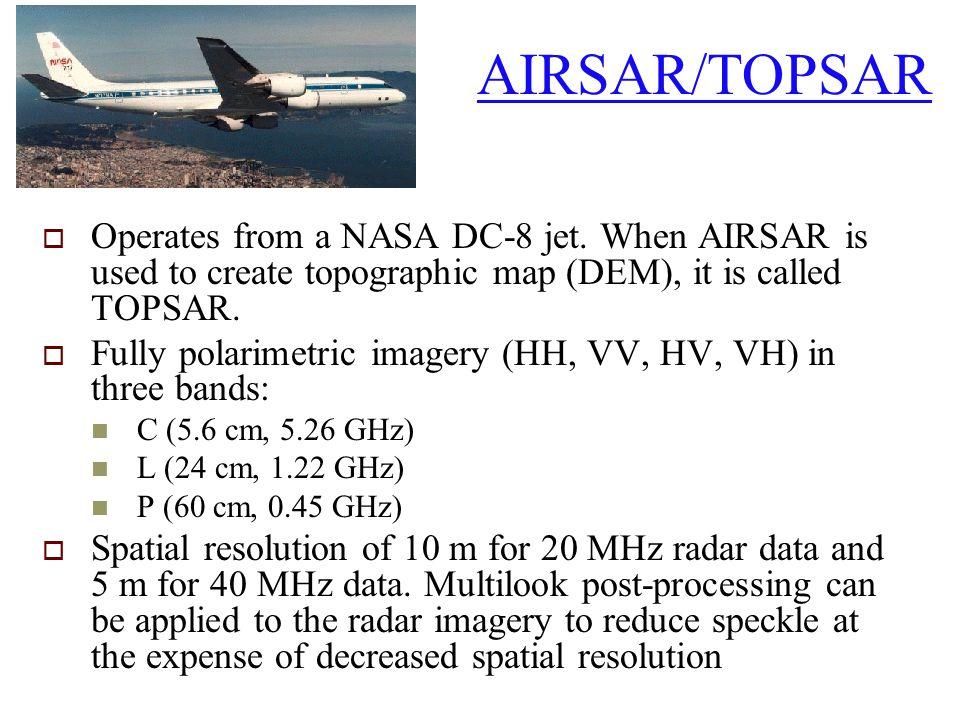 AIRSAR/TOPSAR  Operates from a NASA DC-8 jet.