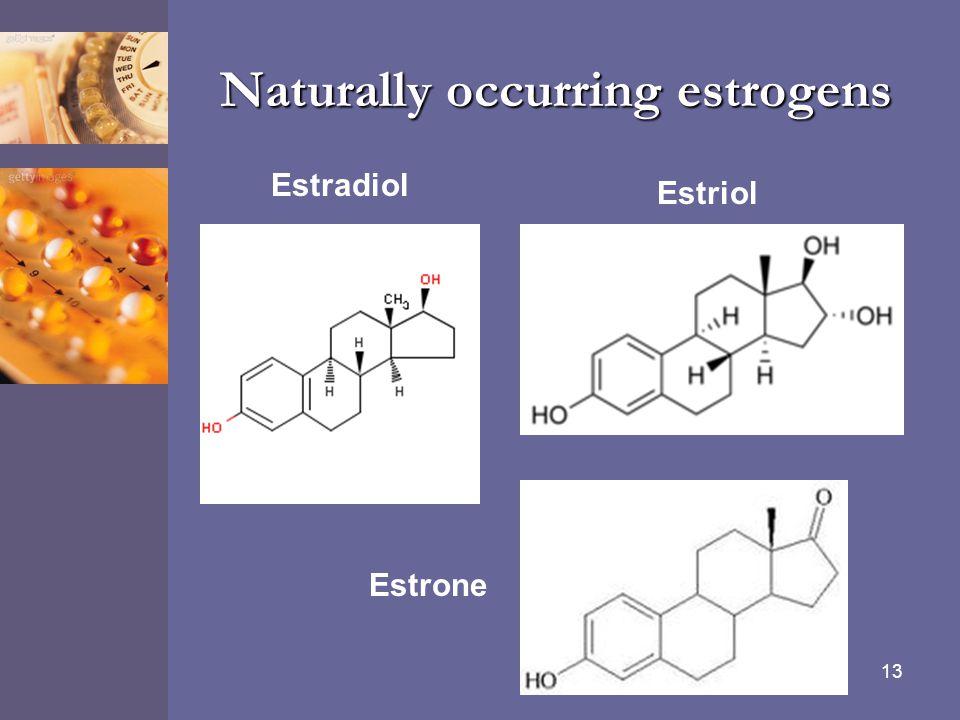 13 Naturally occurring estrogens Estradiol Estrone Estriol