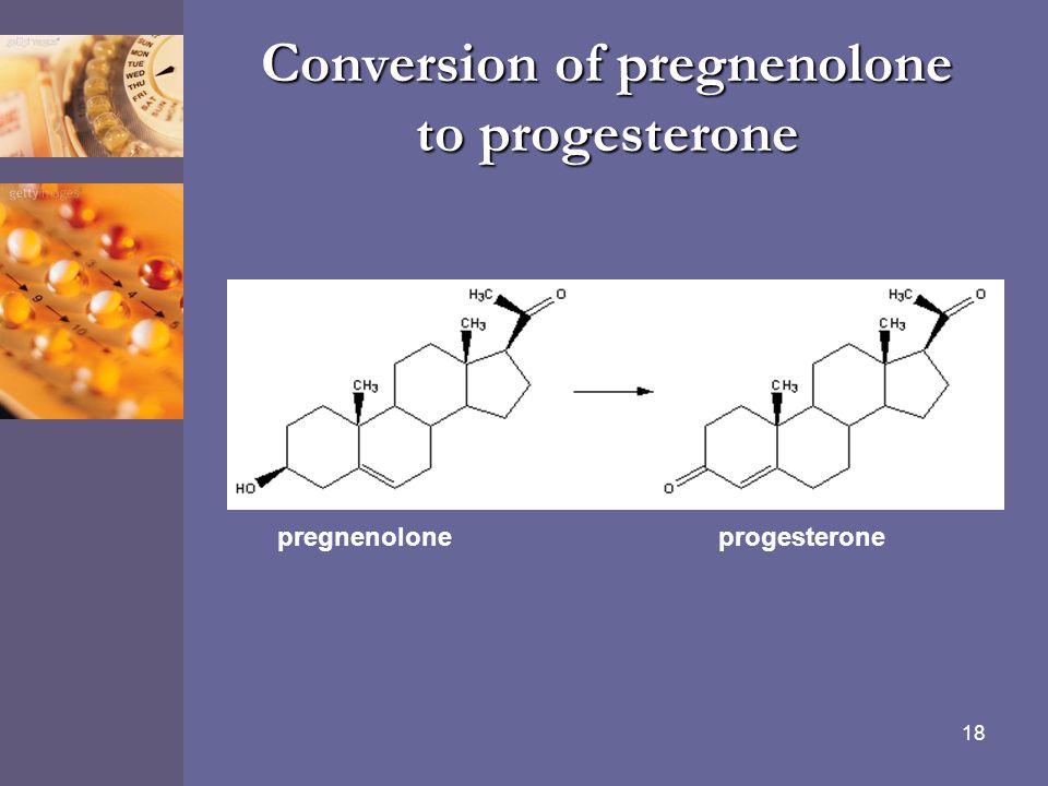 18 Conversion of pregnenolone to progesterone pregnenolone progesterone