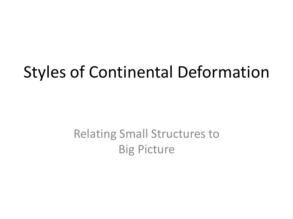 Styles of Continental Deformation Relating Small Structures to Big Picture