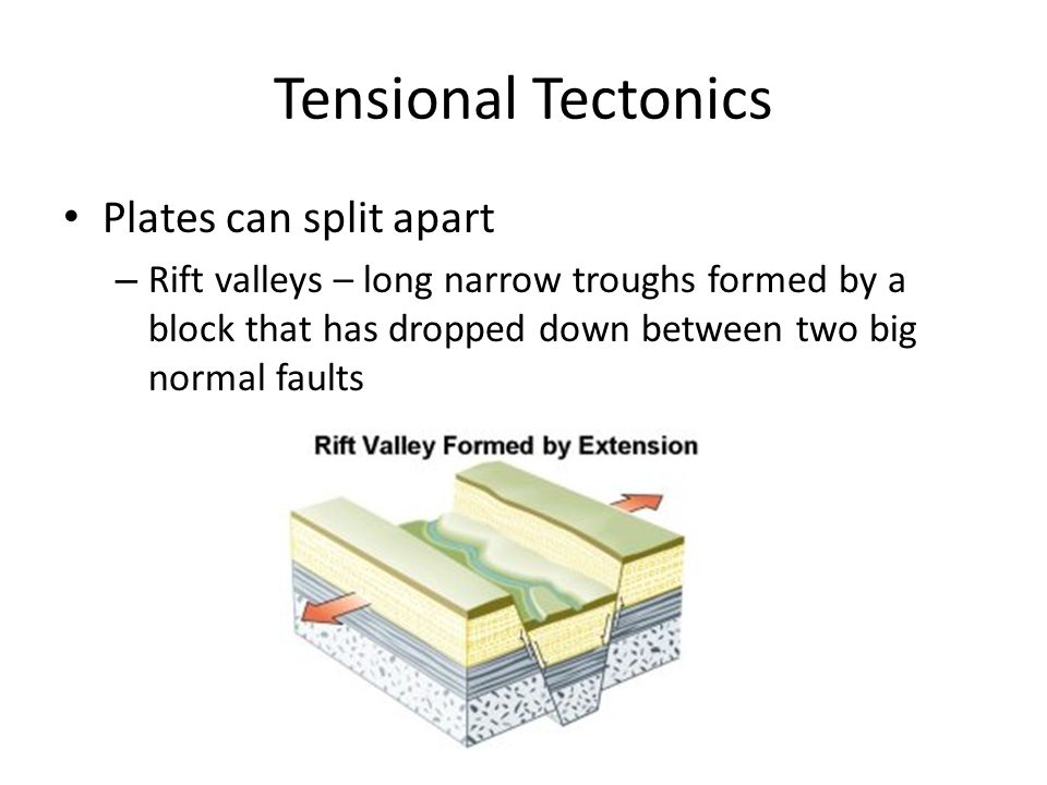 Tensional Tectonics Plates can split apart – Rift valleys – long narrow troughs formed by a block that has dropped down between two big normal faults