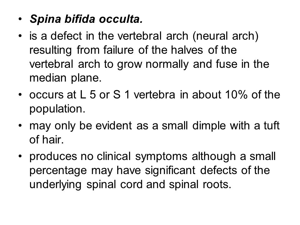 Spina bifida occulta. is a defect in the vertebral arch (neural arch) resulting from failure of the halves of the vertebral arch to grow normally and