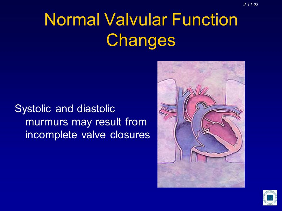 3-14-05 Normal Valvular Function Changes Systolic and diastolic murmurs may result from incomplete valve closures