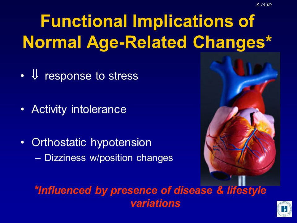 3-14-05 Functional Implications of Normal Age-Related Changes*  response to stress Activity intolerance Orthostatic hypotension –Dizziness w/position