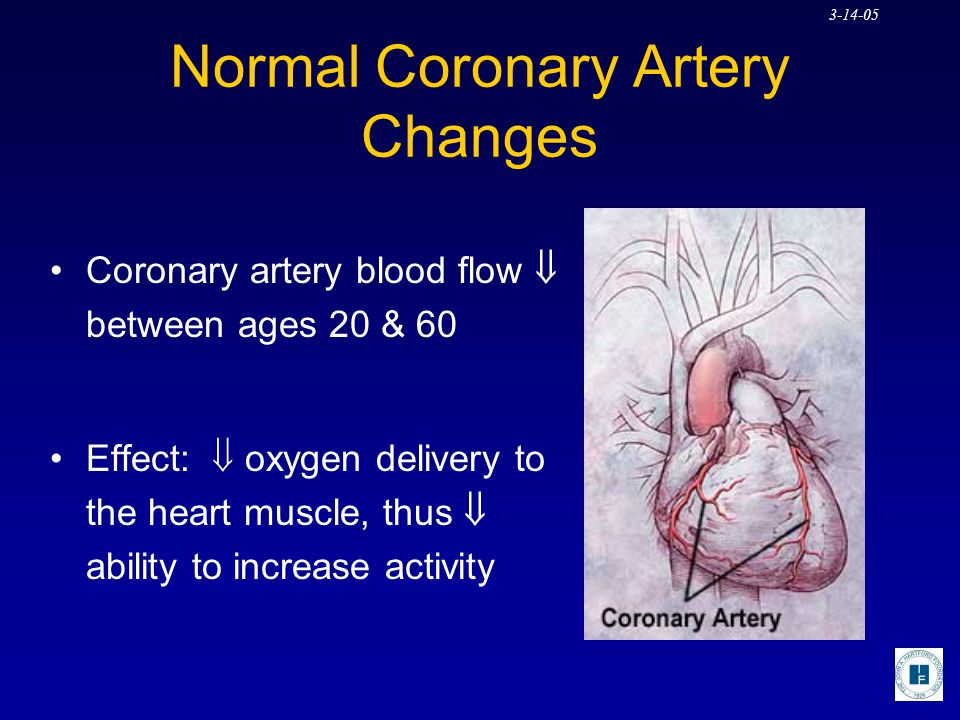 3-14-05 Normal Coronary Artery Changes Coronary artery blood flow  between ages 20 & 60 Effect:  oxygen delivery to the heart muscle, thus  ability