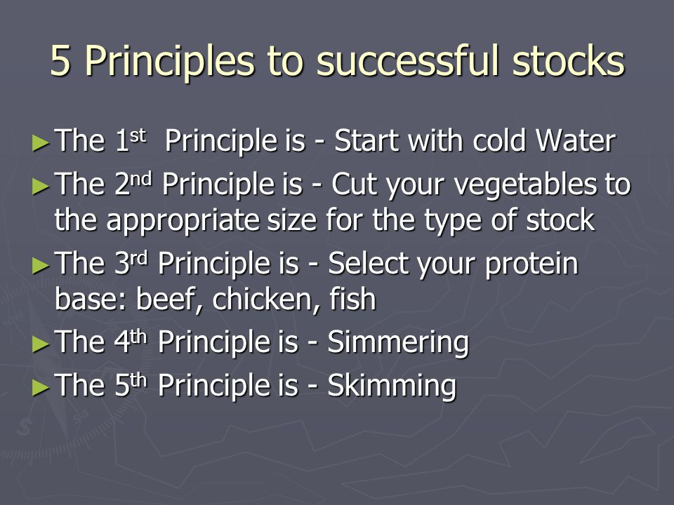 5 Principles to successful stocks ►T►T►T►The 1st Principle is - Start with cold Water ►T►T►T►The 2nd Principle is - Cut your vegetables to the appropr