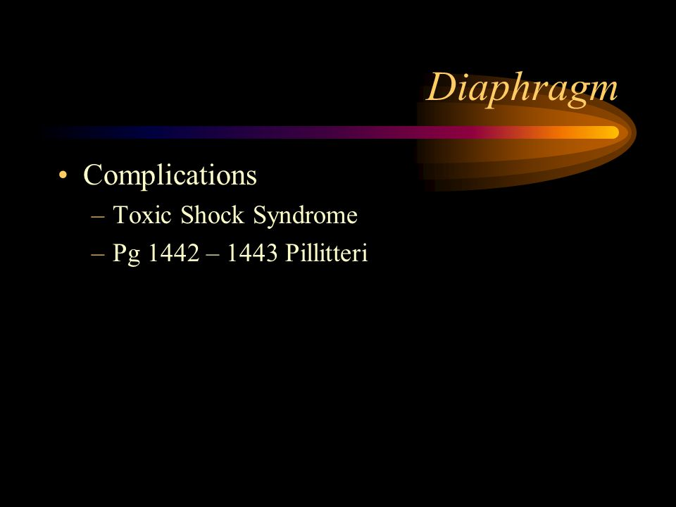 Diaphragm Complications –Toxic Shock Syndrome –Pg 1442 – 1443 Pillitteri
