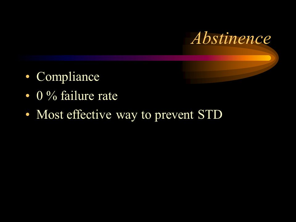 Abstinence Compliance 0 % failure rate Most effective way to prevent STD