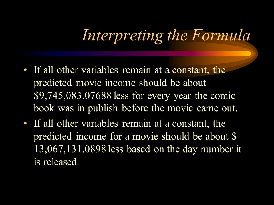 Interpreting the Formula If all other variables remain at a constant, the predicted movie income should be about $9,745,083.07688 less for every year the comic book was in publish before the movie came out.