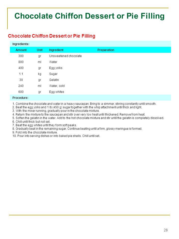 28 Chocolate Chiffon Dessert or Pie Filling Ingredients: AmountUnitIngredientPreparation 300grUnsweetened chocolate 800mlWater 400grEgg yolks 1.1kgSugar 30grGelatin 240mlWater, cold 600grEgg whites Procedure: 1.