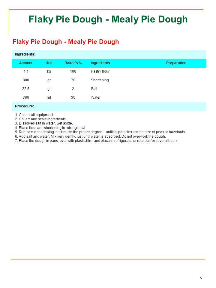 6 Flaky Pie Dough - Mealy Pie Dough Ingredients: AmountUnitBaker s %IngredientsPreparation 1.1kg100Pastry flour 800gr70Shortening 22.5gr2Salt 360ml30Water Procedure: 1.