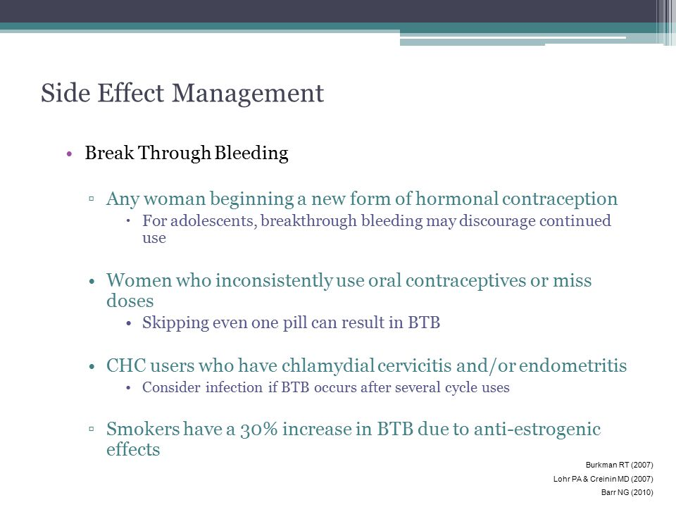 Side Effect Management Break Through Bleeding ▫Any woman beginning a new form of hormonal contraception  For adolescents, breakthrough bleeding may d