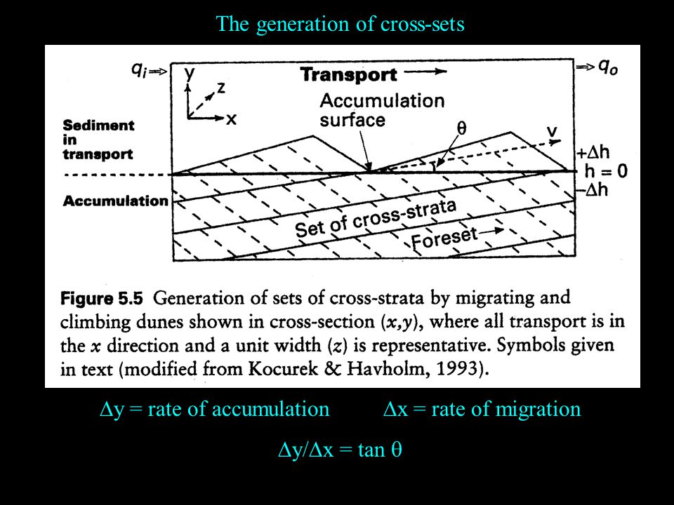 The generation of cross-sets  y = rate of accumulation  x = rate of migration  y/  x = tan 