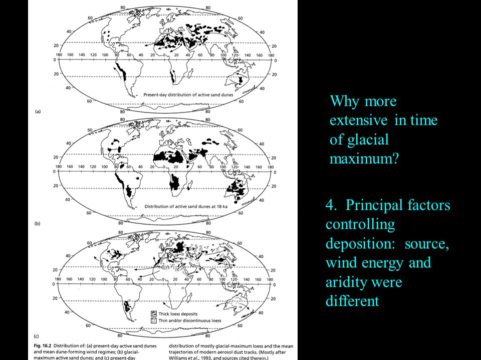 Why more extensive in time of glacial maximum. 4.