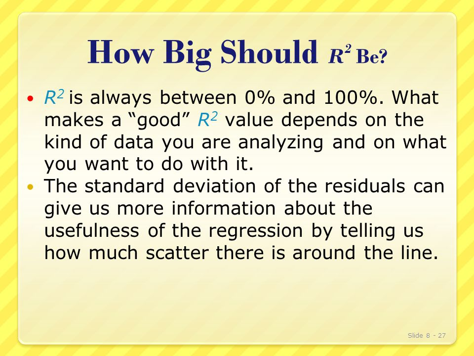 How Big Should R 2 Be. R 2 is always between 0% and 100%.