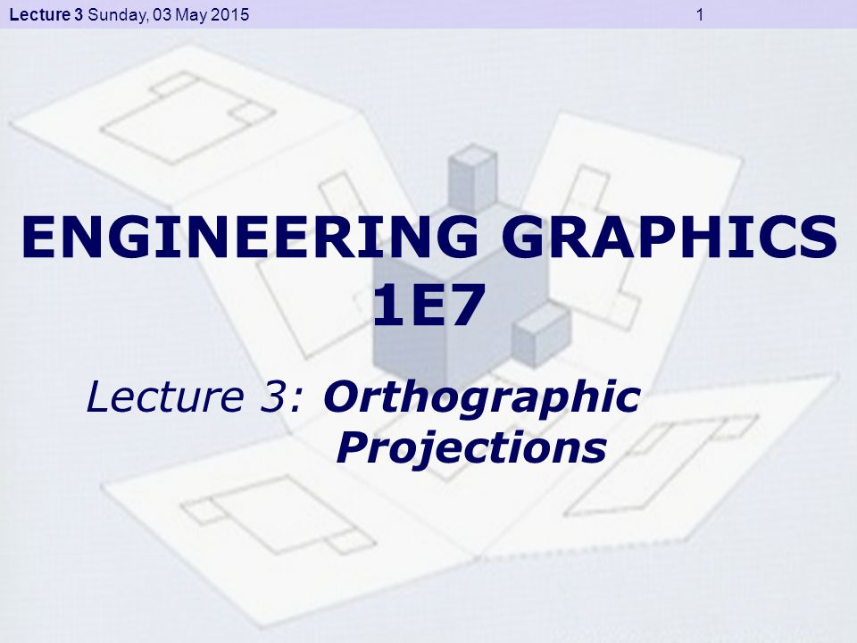 Lecture 3 Sunday, 03 May 2015 2 Projections (1) Projections transform points from n (here, n = 3) dimensional space into a space of dimension less than n (here, n = 2) Points to be considered, – Location of object – Location of observer – Plane of projection – Projectors