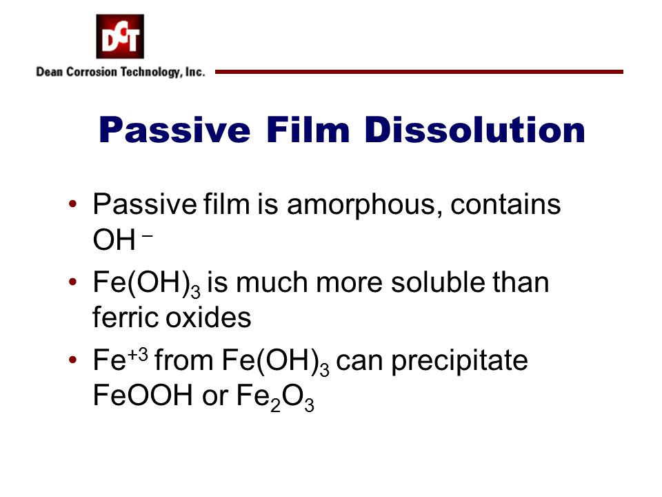 Passive Film Dissolution Passive film is amorphous, contains OH – Fe(OH) 3 is much more soluble than ferric oxides Fe +3 from Fe(OH) 3 can precipitate