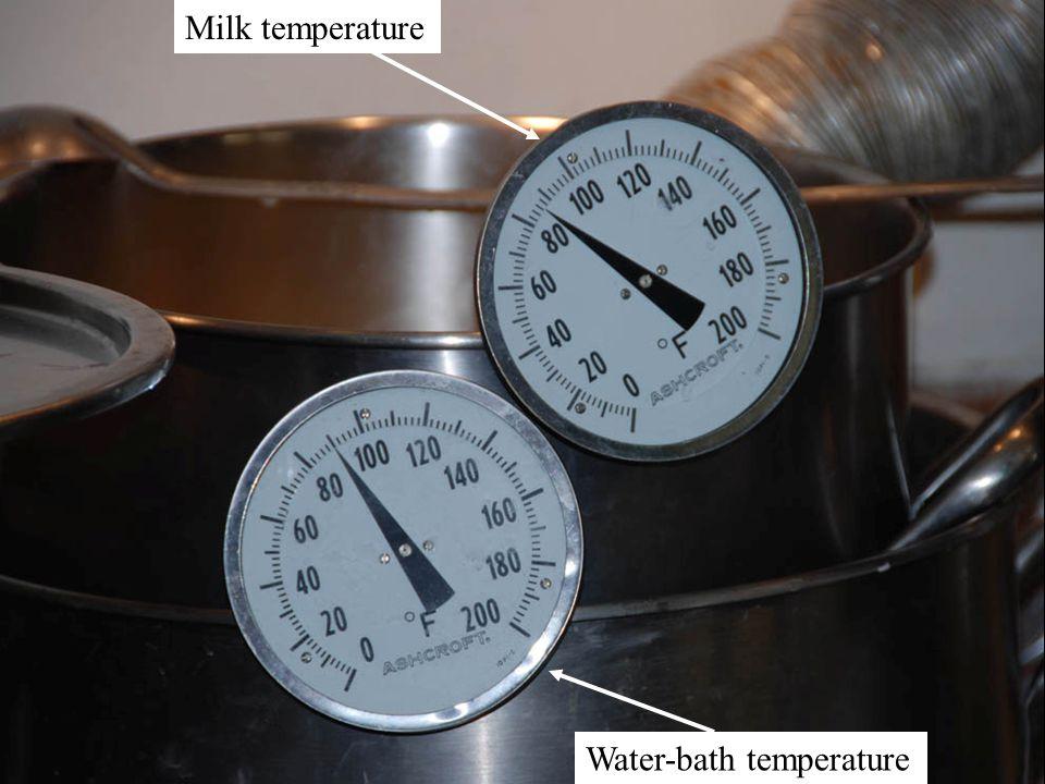 Milk temperature Water-bath temperature