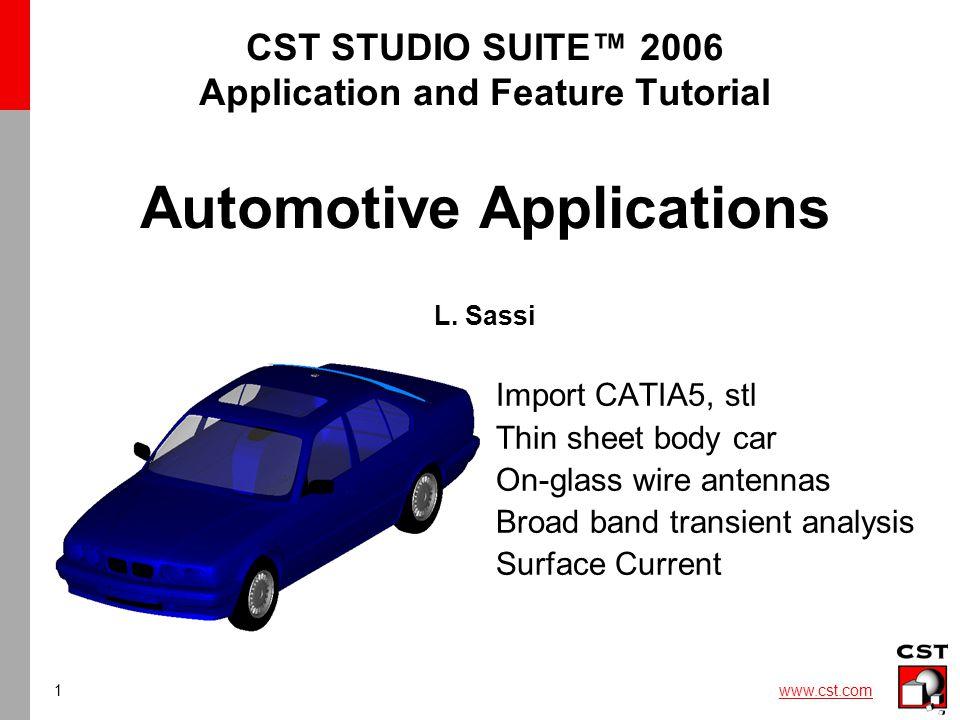 2 www.cst.com Why CST STUDIO SUITE 2006™ for Automotive applications.