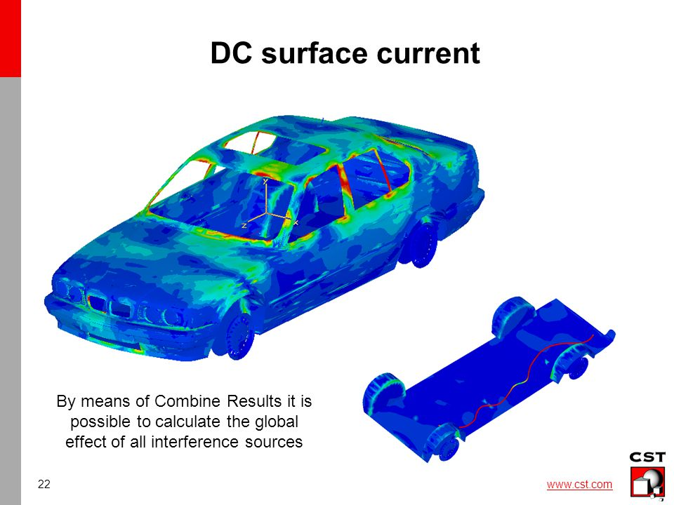 22 www.cst.com DC surface current By means of Combine Results it is possible to calculate the global effect of all interference sources