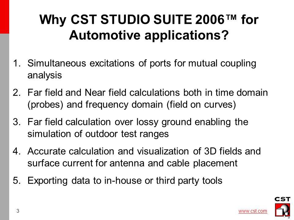 4 www.cst.com Body Car import: Catia5, step, stl,....