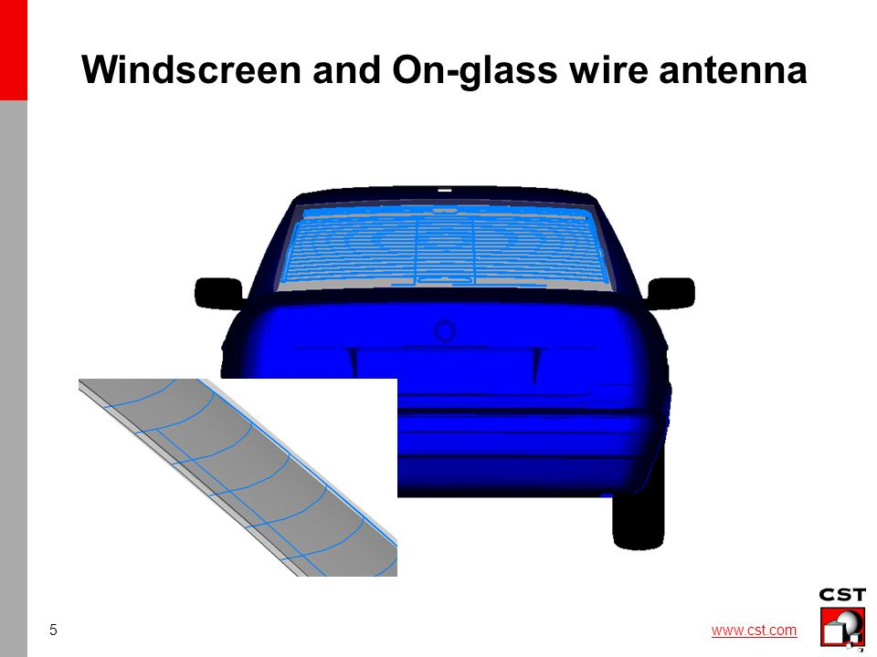 6 www.cst.com Windscreen: Thicken Sheet On arbitrary thin sheet shapes can be assigned a thickness Both thin sheet shapes and 3D shapes import options are available