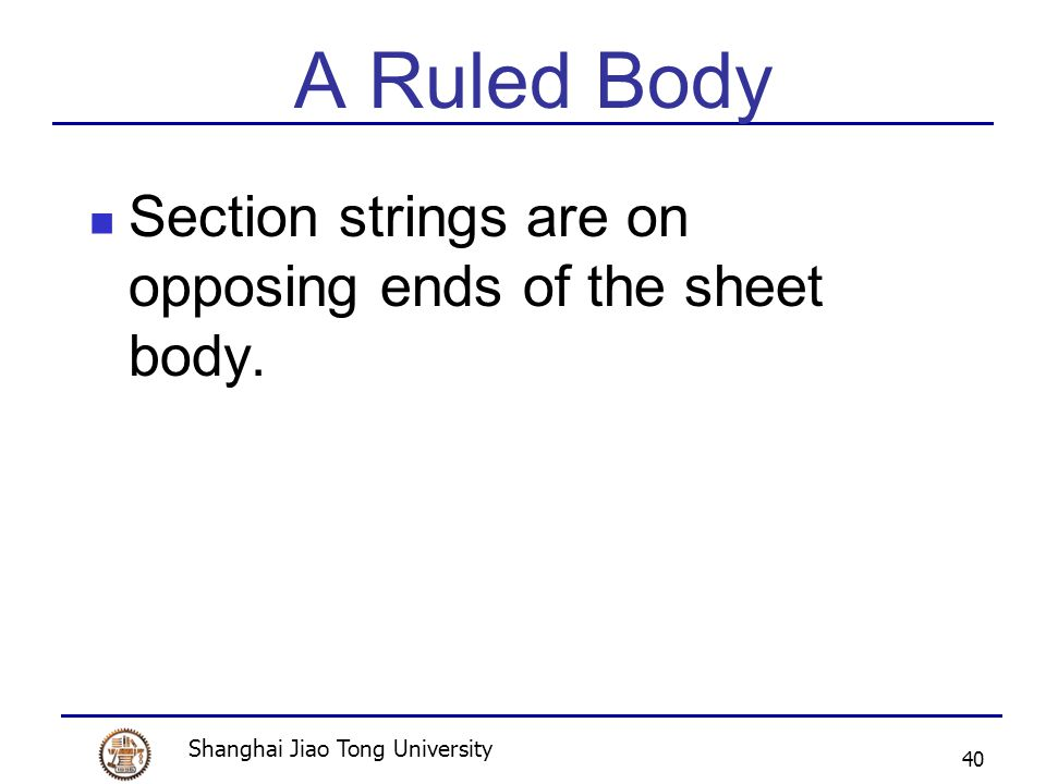 Shanghai Jiao Tong University 40 A Ruled Body Section strings are on opposing ends of the sheet body.