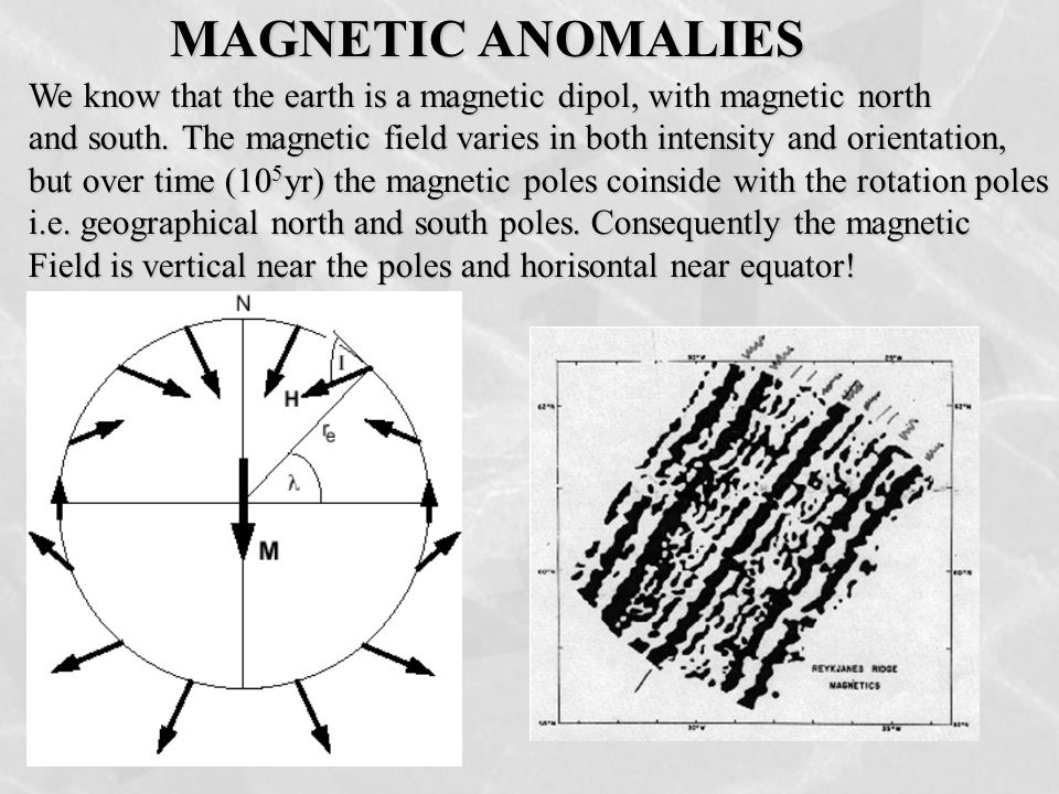 MAGNETIC ANOMALIES We know that the earth is a magnetic dipol, with magnetic north and south. The magnetic field varies in both intensity and orientat