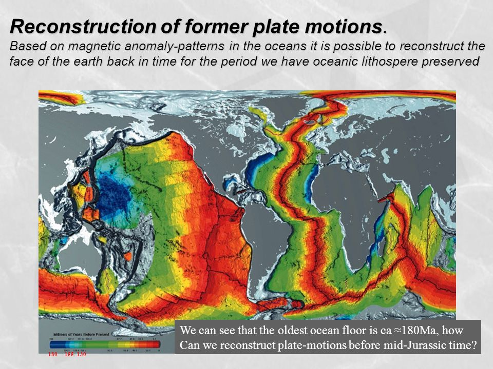 Reconstruction of former plate motions. Based on magnetic anomaly-patterns in the oceans it is possible to reconstruct the face of the earth back in t