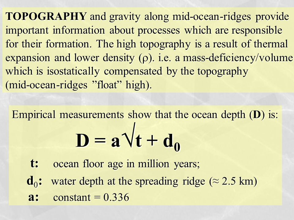 TOPOGRAPHY and gravity along mid-ocean-ridges provide important information about processes which are responsible for their formation. The high topogr