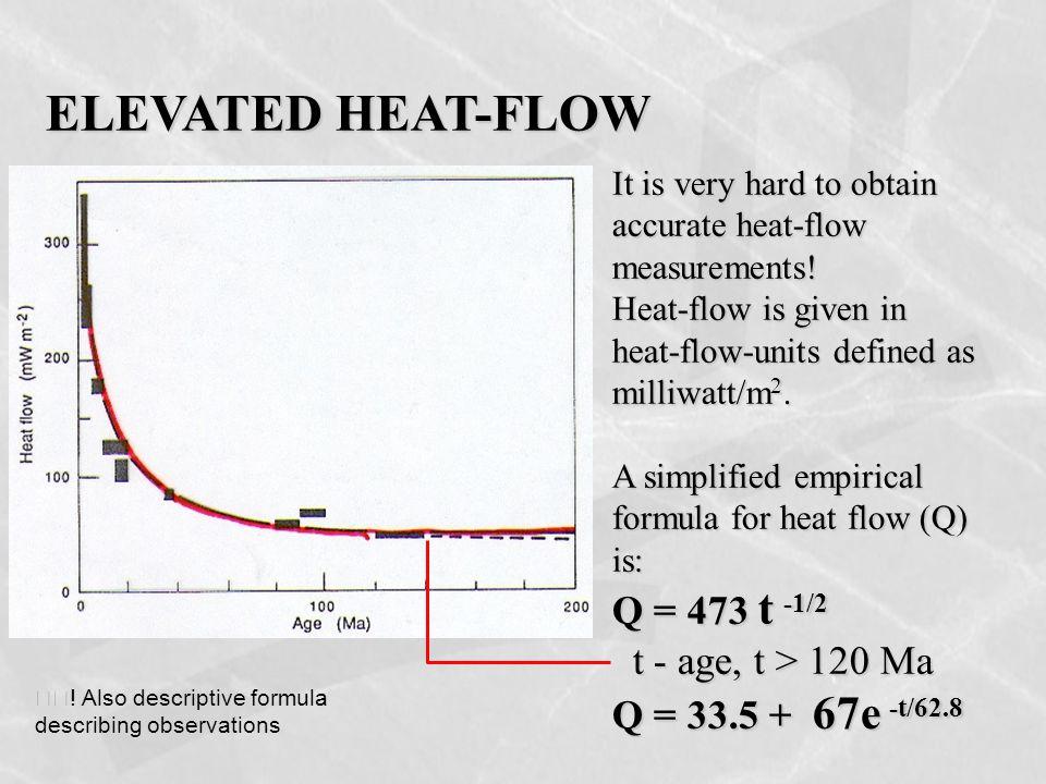 ELEVATED HEAT-FLOW It is very hard to obtain accurate heat-flow measurements! Heat-flow is given in heat-flow-units defined as milliwatt/m 2. A simpli