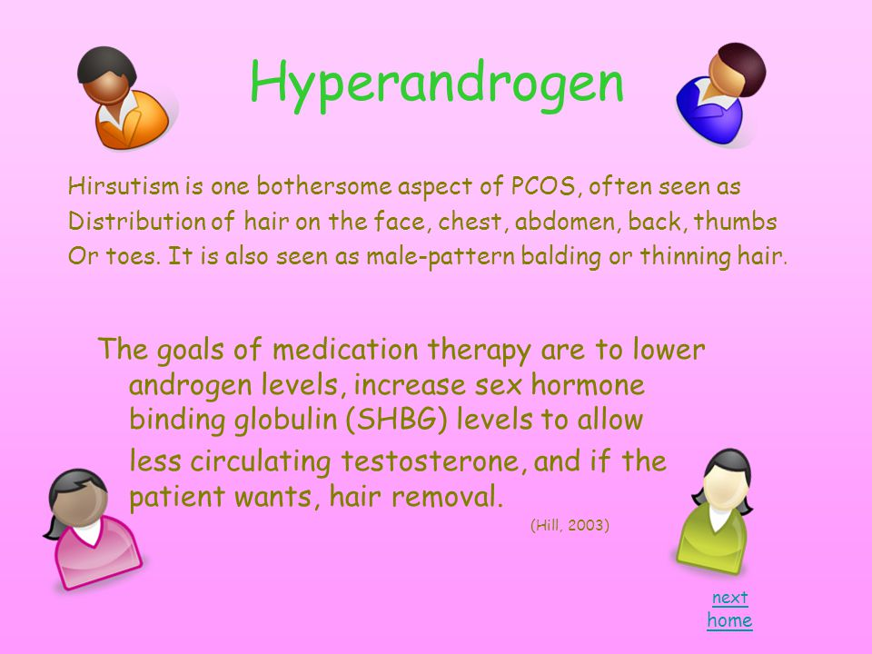 Hyperandrogen next home Hirsutism is one bothersome aspect of PCOS, often seen as Distribution of hair on the face, chest, abdomen, back, thumbs Or toes.