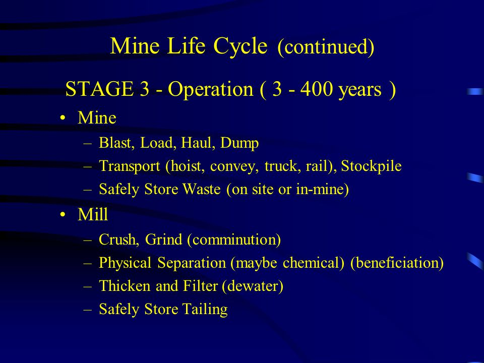 Mine Life Cycle (continued) STAGE 3 - Operation ( 3 - 400 years ) Mine –Blast, Load, Haul, Dump –Transport (hoist, convey, truck, rail), Stockpile –Safely Store Waste (on site or in-mine) Mill –Crush, Grind (comminution) –Physical Separation (maybe chemical) (beneficiation) –Thicken and Filter (dewater) –Safely Store Tailing