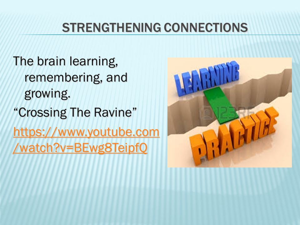 STRENGTHENING CONNECTIONS The brain learning, remembering, and growing.