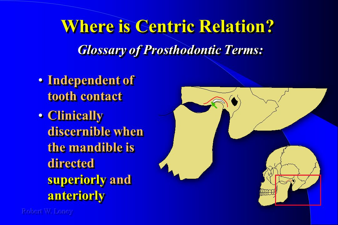 Where is Centric Relation? Glossary of Prosthodontic Terms: Independent of tooth contactIndependent of tooth contact Clinically discernible when the m