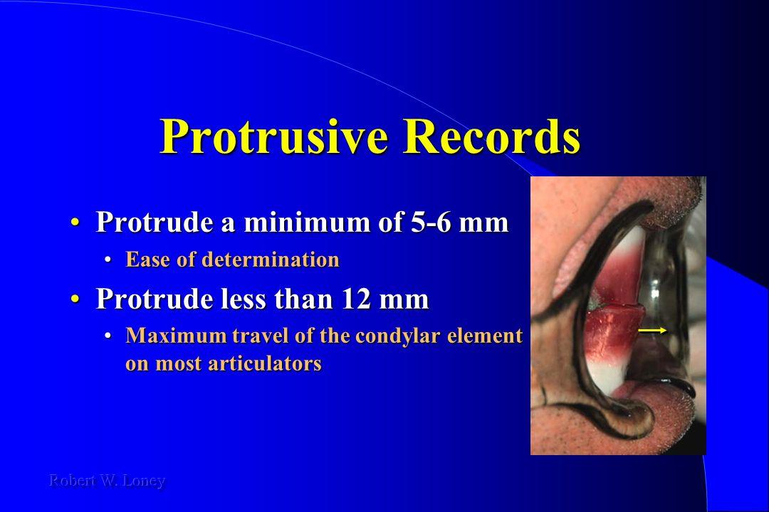 Protrusive Records Protrude a minimum of 5-6 mmProtrude a minimum of 5-6 mm Ease of determinationEase of determination Protrude less than 12 mmProtrud
