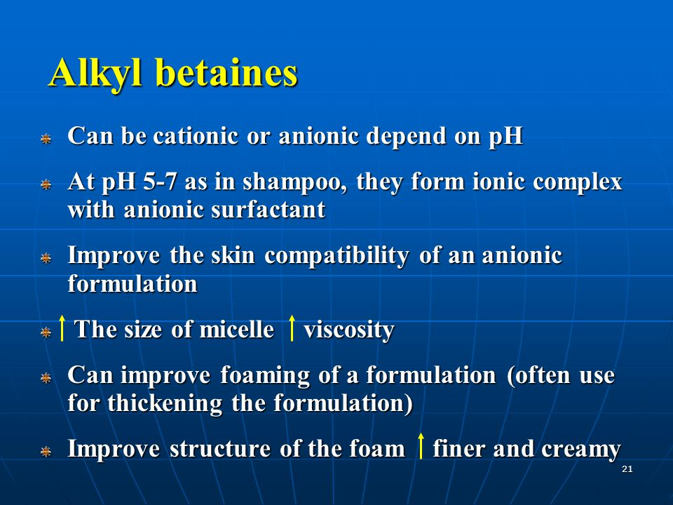 21 Alkyl betaines Can be cationic or anionic depend on pH At pH 5-7 as in shampoo, they form ionic complex with anionic surfactant Improve the skin co