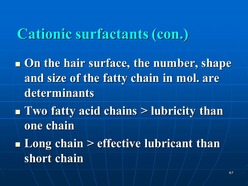 67 On the hair surface, the number, shape and size of the fatty chain in mol. are determinants On the hair surface, the number, shape and size of the