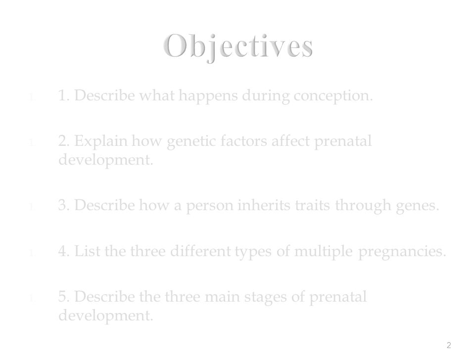 2 Objectives 1. 1. Describe what happens during conception.