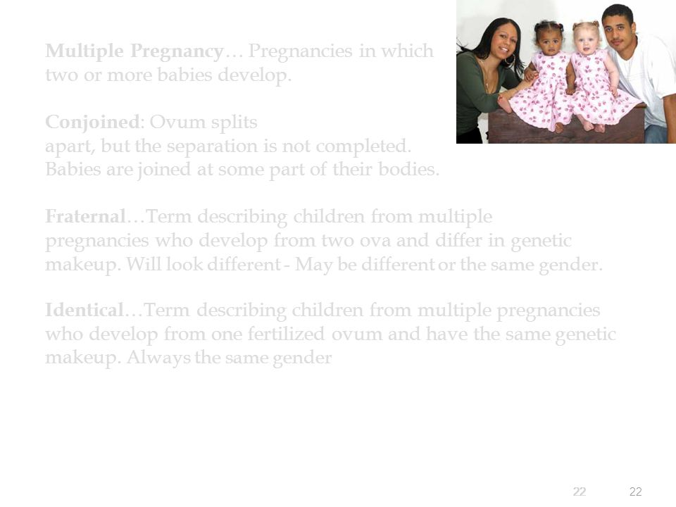 22 Multiple Pregnancy … Pregnancies in which two or more babies develop.