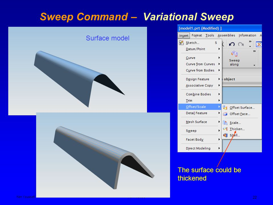 Ken YoussefiPDM I,SJSU 22 Sweep Command – Variational Sweep Surface model The surface could be thickened