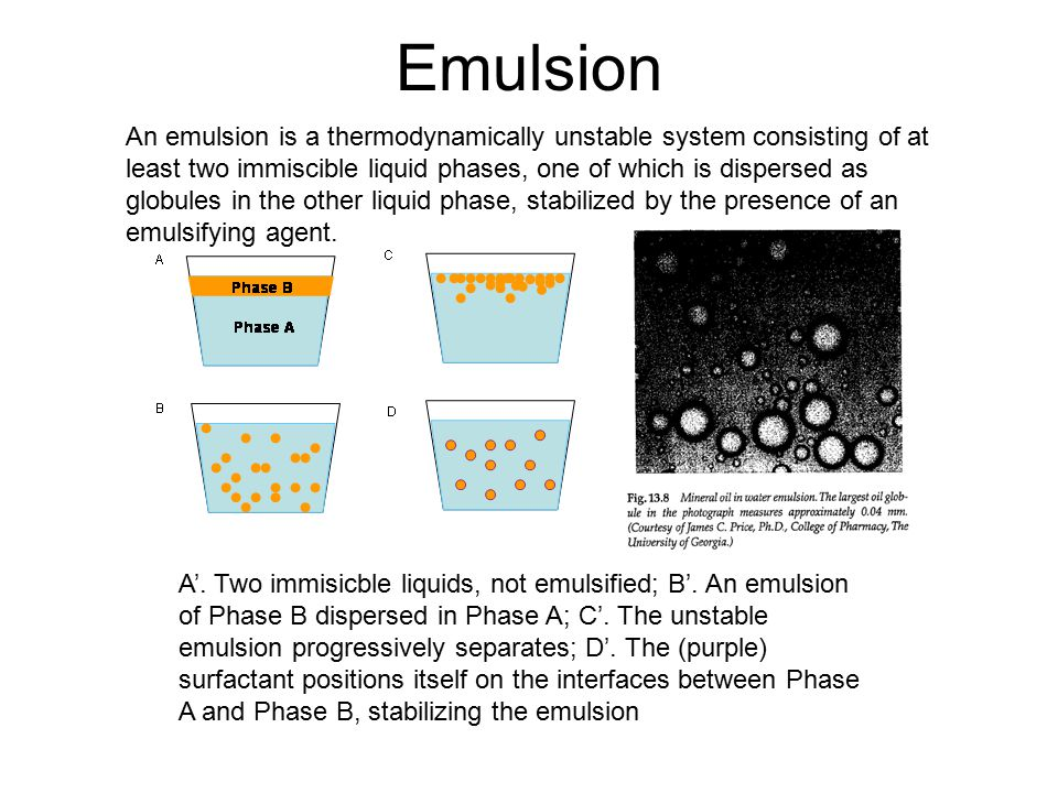 Auxiliary method An emulsion prepared by other methods can also usually be improved by passing it through a hand homogenizer, which forces the emulsion through a very small orifice, reducing the dispersed droplet size to about 5 microns or less.