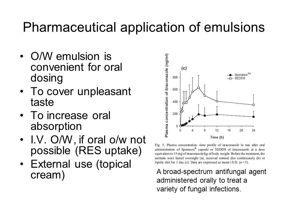 Incorporation of medicinal agents Addition of drug during emulsion formation Addition of drugs to a preformed emulsion 1.