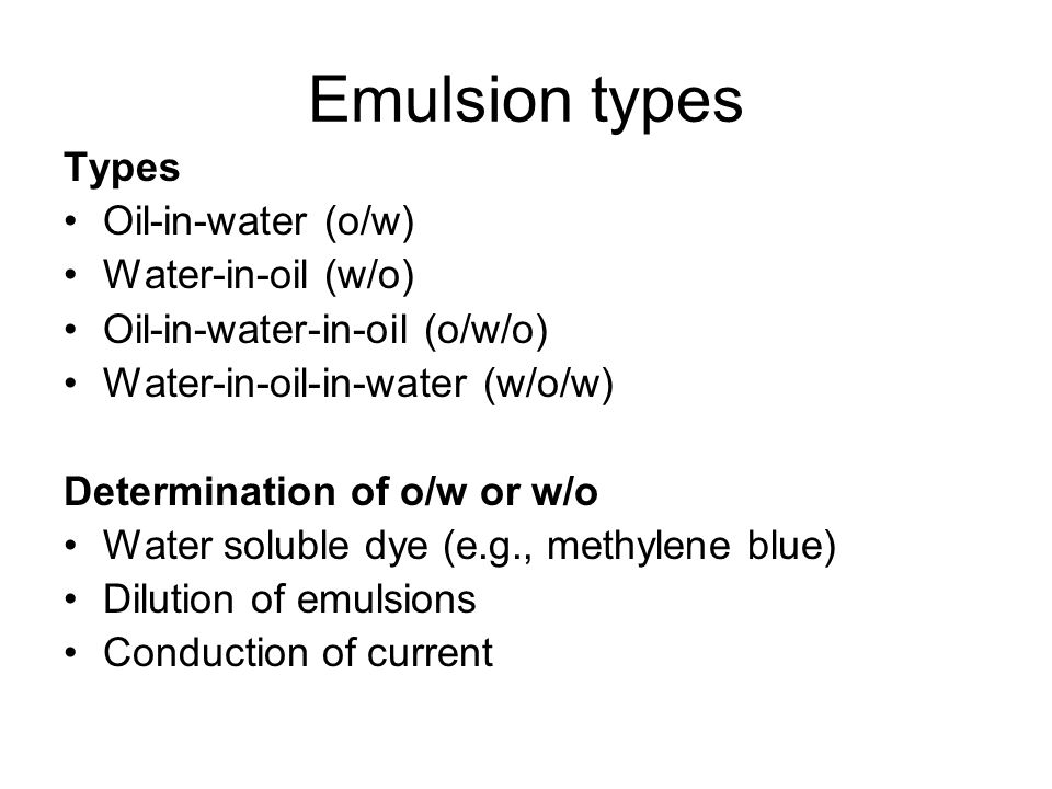 Physical stability of emulsion Phase inversion An emulsion is said to invert when it changes from an o/w to w/o or vice versa.