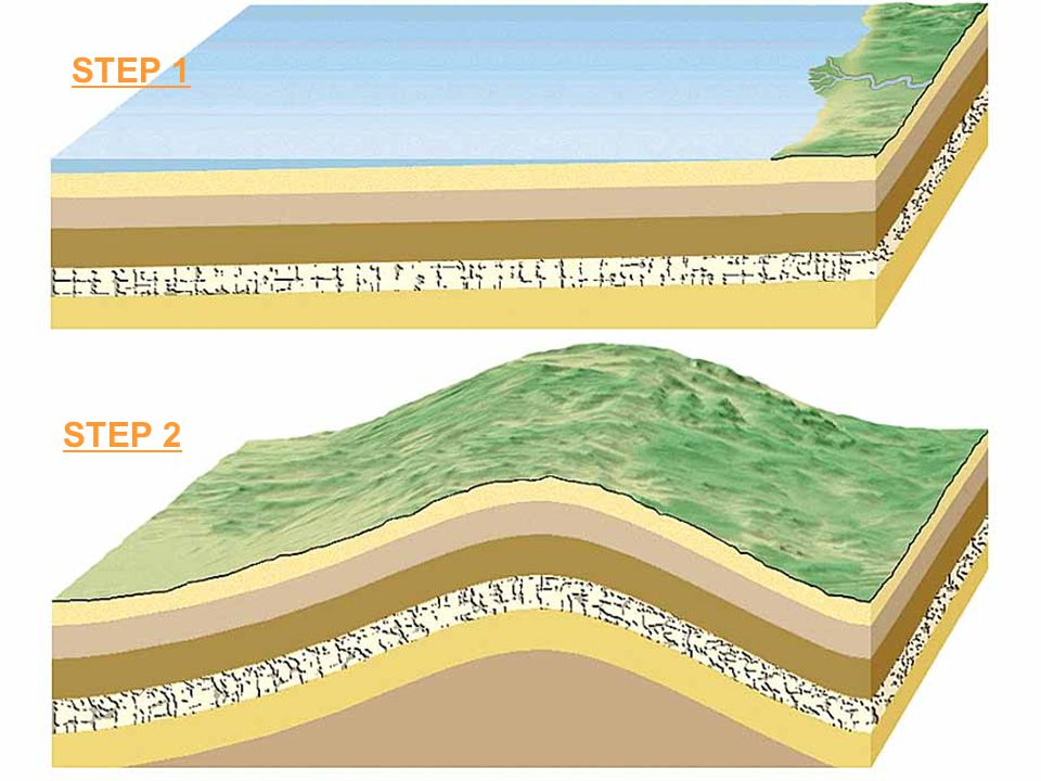 SEQUENCE of events… 1.The lower sediments were deposited as horizontal layers in a body of water.lower sediments 2.These sediments were then raised above water level and tilted during a tectonic event (what type of boundary?).sediments 3.Streams & other forces of erosion carved a nearly horizontal surface across the tilted beds.horizontal surface