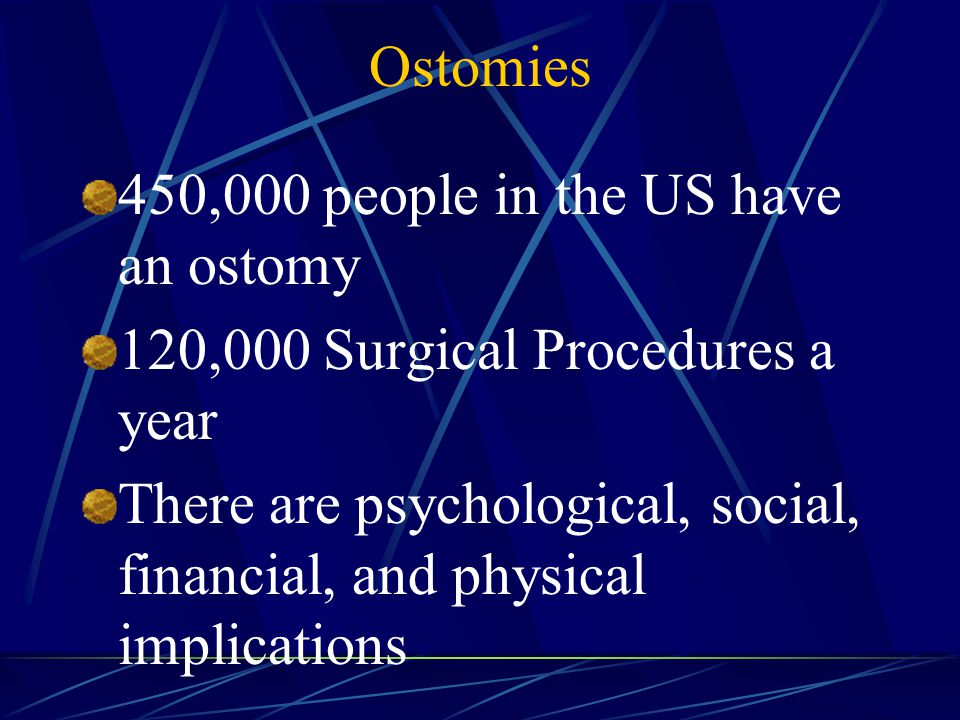 Ostomies 450,000 people in the US have an ostomy 120,000 Surgical Procedures a year There are psychological, social, financial, and physical implications