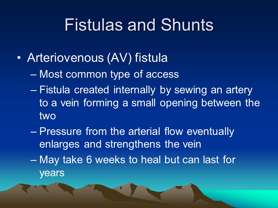 Fistulas and Shunts Arteriovenous (AV) fistula –Most common type of access –Fistula created internally by sewing an artery to a vein forming a small o